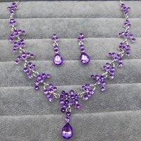 Earrings & Necklace Luxury Elegant Purple White Crystal Bridal Jewelry Sets Silver Color Alloy Rhinestone Teardrop Earring For Women