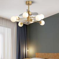 Nordic Minimalista Soggiorno Soffitti dei soffitti Fan Lights Ristorante Ventilatori del soffitto Lampada Smart Stealth Camera da letto Ventilatore da soffitto con luce 85-265V