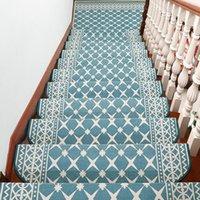 카펫 하이 엔드 플라워 유럽 엘 거실 계단 매트 접착제없는 자기 접착 계단 단계 카펫 단단한 나무가 아닌 미끄럼 매트 홈
