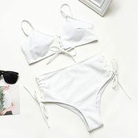 Hohe Taille Bikini Sexy Bandage Badeanzug Frauen High Hals Bather Biquini Strand Gestreiften Badeanzug Neue Badebekleidung