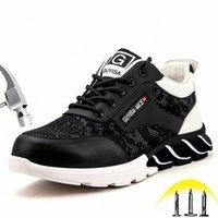 Stahlzehe Arbeitssicherheit Schuhe Mode Punktionsweise Bequeme rutschfeste Bau Industrial Arbeit Stiefel Lässige Turnschuhe B3QI #