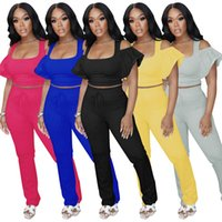 Women Two Piece Pants summer fall clothes sexy club running solid color Ruffle t-shirt pantss sweatsuits pullover crop tops leggings outfits tee top bodysuits 01686