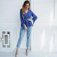 2021 Yeni Shyloli Vintage V Yaka Uzun Fener Kol Manşet Yay Kadınlar Zarif Düğmeler Bayan Ev Giyim Ofis Bluz Tops Yaz Whul