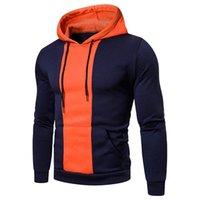 Men's Hoodies & Sweatshirts Fashion Slim Fit Men Set Hoodie Drawstring Hip Hop Autumn Splicing Long Sleeve Round Neck Sports Soft