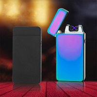 Windproof USB Rechargeable Electric Dual Arc Lighters Flameless Plasma Pulse Lighter Cigarette Candle LED Power Display