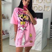 Diamanten Tierkleid Frauen Rosa Panther T-shirt Kleid Perlen T-shirt Sommer O Neck Kurzarm Lose Kleid