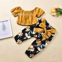 4T Yürüyor Bebek Kız Giysileri Kapalı Omuz Kazak Kısa Kollu Yay Çiçek Pantolon Tops 2 ADET Çocuklar için Kıyafetler Giyim 2020 214 U2