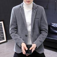 Men's Suits & Blazers 2021 Winter Thickened Woolenblazer Slim-Fit Trendy Casual