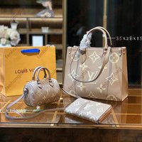 Продайте скважинную моду Женщина Сумки на плечо Трехчасовые сумки Сумка Натуральная Кожа Классический Узор Дизайн Super Большой Емкость Высококачественные Подарки 04