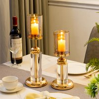 Candle Holders Home Decoration Accessories Centerpiece Decorative Dining European Metal Glass Candles Holder Wedding Party Decor