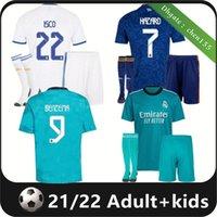 21 22 Erwachsene Kit Real Madrid Jerseys Fussball Fußball Hemden 2021 2022 Alaba GEFAHR BENZEMA MODRIC KROOS VINI JR Casemiro Camiseta Männer Kinder Socken Full Sets