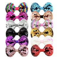 Baby Girls Bow Glitter Barrettes Children Kids Toddler Shiny Paillette hairpins Clips With Metal Teeth Clip Boutique Bows Hair Accessories