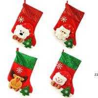 Christmas Stocking Sequin Socks Gifts Sacks Candy Bags Cartoon Stockings Christmas Tree Decor Santa Claus Snowman Deer Bear HWB10180