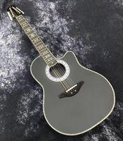 Âvalo de credonback 3 12 cordas elétricas guitarra acústica preto 41 polegadas guitarra folclórica alta brilhante com madeira