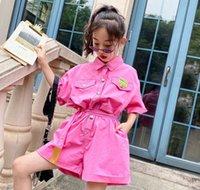 Büyük Kızlar Tulumlar Çocuk Takım Elbise Yaka Tek Göğüslü Kısa Kollu Tulum Yaz Çocuklar Bows Kemer Gevşek Şort Bodysuit 4-15 T Q0030