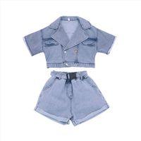 Kids Baby Girls Summer Fashion Clothes Tops Coat Short Sleeve Denim Jacket Belt Shorts Pants Toddler Children Costumes Sets 2pcs