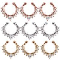 100pcs bijoux fins rose or et argent Aucun perçant faux septum anneau cristal nez anneau faux piercing n0020