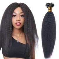 Extensões de cabelo mongolina reta kinky pré-ligado ponta plana na cor natural da extensão