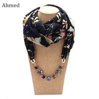 Pendentif Colliers Ahmed Mode Chiffon Chiffon Imprimé Colorful Beads Echarpe Pour Femmes Bohemian Déclaration Collier Collier Colombrons Bijoux