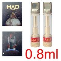 Vape Kartuş Ambalaj Altın Mad Labs Atomizerleri 0.8 ml Boş Cam Tank Arartıları Seramik Bobin Kalın Yağ Atomizer 510 Konu Elektronik Sigara Kalem Kuru Herb Buharlaştırıcı