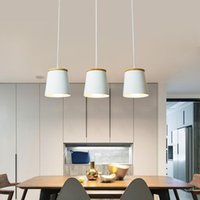 Creative Led Modern Colgante Lámparas Colgantes Blancas Barra de madera + suspensión de metal Lámpara de techo Colgante para Lámpara de Lámpara de Lámpara de Comedor