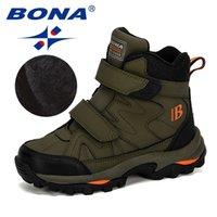 BONA Style Winter Children's Snow Boots Boys Girls Fashion Waterproof Warm Shoes Kids Thick Mid Non-Slip Boots 210902