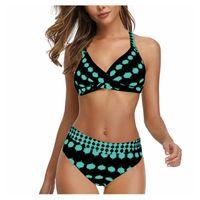 One-Piece Suits 2021 Bikini High Waist Swimsuit Retro Wave Point Cross Women's Split Swimwear Brazilian Summer Beach Bathing Suit