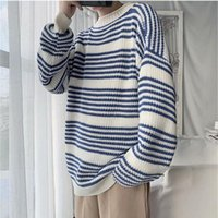 Men's Sweaters Striped Sweater Men Crewneck Fashion Tops Clothes Autumn Winter 2021 Oversized Thin Wool Swaeters