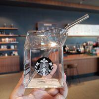 Yeni Son 13.5 oz Aydınlık Starbucks Kupa Cam Şeffaf Süt Kutusu Şekli Açılış Ile Soğuk İçecek Suyu Kahve Fincanı 24 oz Çift Katmanlı Plastik Kupalar