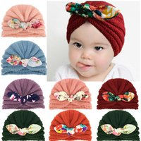 Caps & Hats Bows Baby Hat Warm Winter Crochet Kids Girl Bonnet Knitted Flower Printed Infant Toddler Beanie Cap Turban Accessories