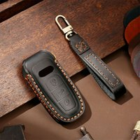 Genuine Leather Key Fob Protector Cover Case For Audi A6L A8L A6 A7 A8 smart key 2019 2020 Car Accessories Fob Cover Keychain