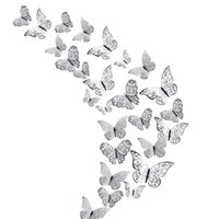 Wall Stickers 48Pcs Butterfly Decorations 3D Decals Art Sticker, DIY Handmade Removable Paper Murals For Bedroom DéCor