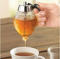 Honey Jam Bottle Kitchen Tool Easy Handle Press Honey Pot Bottom Bowl Tray Plastic Ketchup Bottles Round Alloter Limpid BWE7084