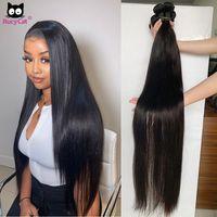 Rucycat Soft 100% Hu Remy Brazilian Bone Straight Hair Weave 30 Inch Bundl