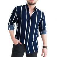 Men's Casual Shirts Striped Print Slim Men Shirt Turn-down Collar Top Long Sleeve Buttons Closure Business Male Clothing