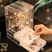 Portable Earrings Ring Display Stand Shelf Dustproof Acrylic Jewelry Storage Box Drawer Women Necklace Bracelet Organizer Case X0703