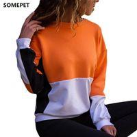 Women's Hoodies & Sweatshirts Color Patchwork Long Sleeve Women Autumn Loose Cotton O-Neck Pullover Harajuku