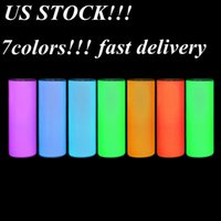 US stock!!!sublimation glow in the dark tumbler 20oz STRAIGHT tumblers skiny with Luminous paint Luminescent magic Halloween prank cup