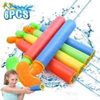 6 pcs espuma esguicho armas brinquedo kit água blaster tiro canhão divertido verão praia banheiro para meninos crianças crianças ao ar livre 210803