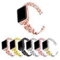 Fancy Diamond Set Metal Strap For Apple Watch 44mm 42mm 40mm 38mm Bands Luxury Wonmen Bracelet Wristbands iwatch Series 6 5 4 SE Watchbands Smart Accessories