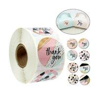 500pcs / rotolo GRAZIE Adesivi Scratch Off adesivi Seals Seduzioni Bomboniere Bomboniere Toppers Baby Shower Gift Etichette adesive