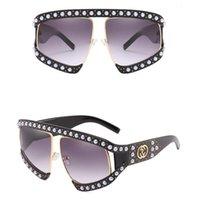 선글라스 패션 진주 대형 플라스틱 프레임 남성 여성 핑크 레드 그린 블랙 플랫 렌즈 태양 보호 안경