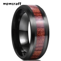 Wedding Rings 8mm Mens Womens Tungsten Carbide Band Black Koa Wood Inlay Beveled Polished Shiny Comfort Fit Personal Customize