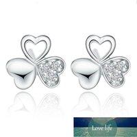925 argento sterling delicato fortuna foglia foglia fiore crystal zircone orecchini moda gioielli regalo per il giorno di Natale S-E53