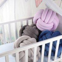 Almohada moda suave nudo bola cojines de cama rellena decoración casera cojín color sólido peluche tiro anudado