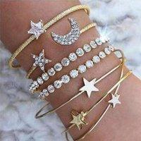 Cuff 4pcs Braclet Set Stainless Steel Crystal Bracelet Women Screw Hand Fashion Star Moon Love Boho Wedding Bangle Gold