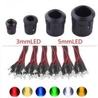 Leichte Perlen 20-100 stücke 3mm / 5mm rot / grün / blau / rgb 12 v dc runde vordrahtiertes wasserklarer LED mit Kunststoffhalter