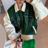 두 조각 드레스 집 써니 재킷 여자 PU 가죽 야구 코트 여성 겉옷 잔디 녹색 여행 편지 아플리케 폭격기 R2A7