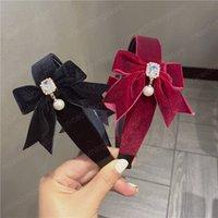 벨벳 bowknot hairbands 모조 다이아몬드 진주 디자이너 헤드 밴드 여성용 여자 머리 보우 후프 2021 패션 헤어 액세서리