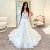 Spaghetti A Line Lace Wedding Dresses with Applqiues Court Train Lace-up Back Boho Plus Size Bridal Gowns